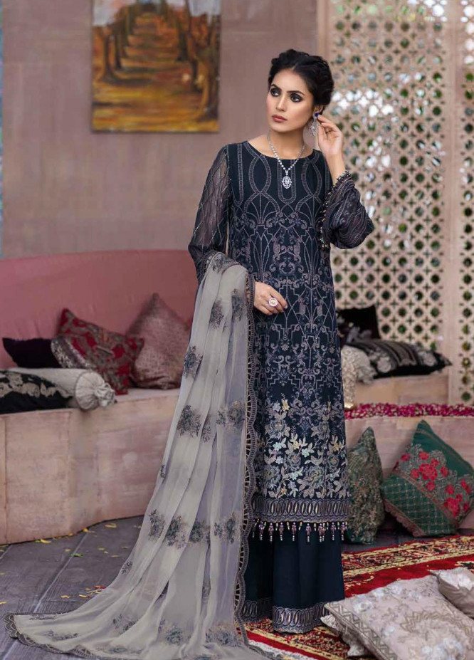 Flossie Embroidered Chiffon Suits Unstitched 3 Piece FL21RN 07 BLUE SAPPHIRE - Luxury Formals Collection