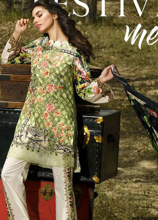 Firdous Fashion Embroidered Lawn Unstitched 3 Piece Suit FRC18E 13 - Eid Collection