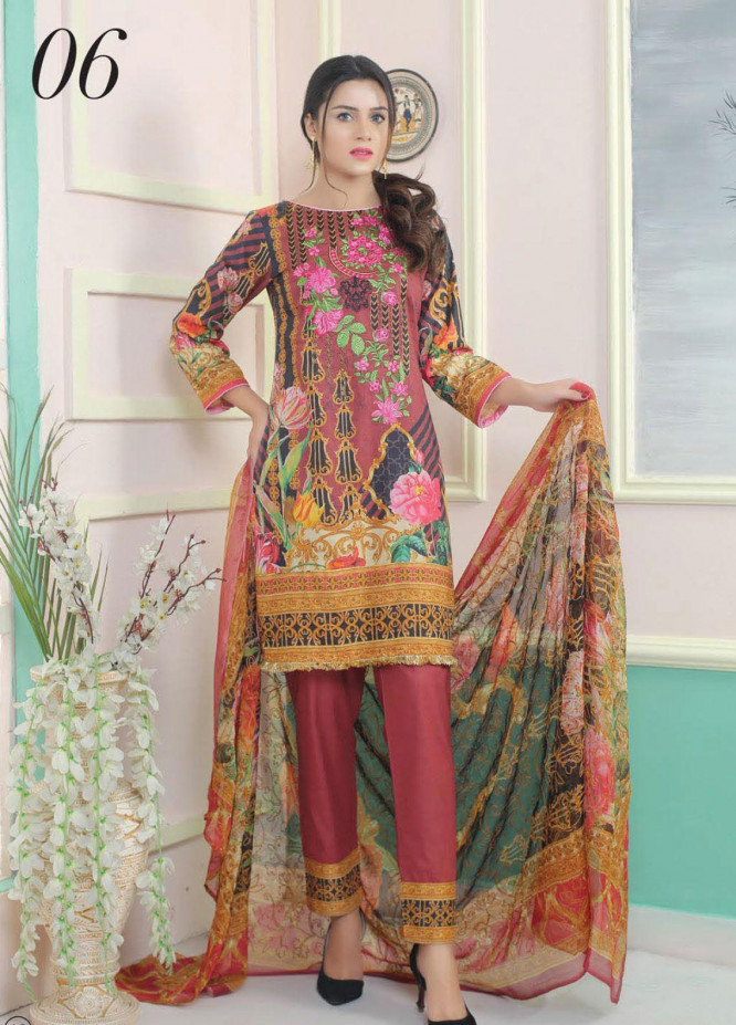 King Fabrics Embroidered Lawn Unstitched 3 Piece Suit KF20FL 6 - Summer Collction