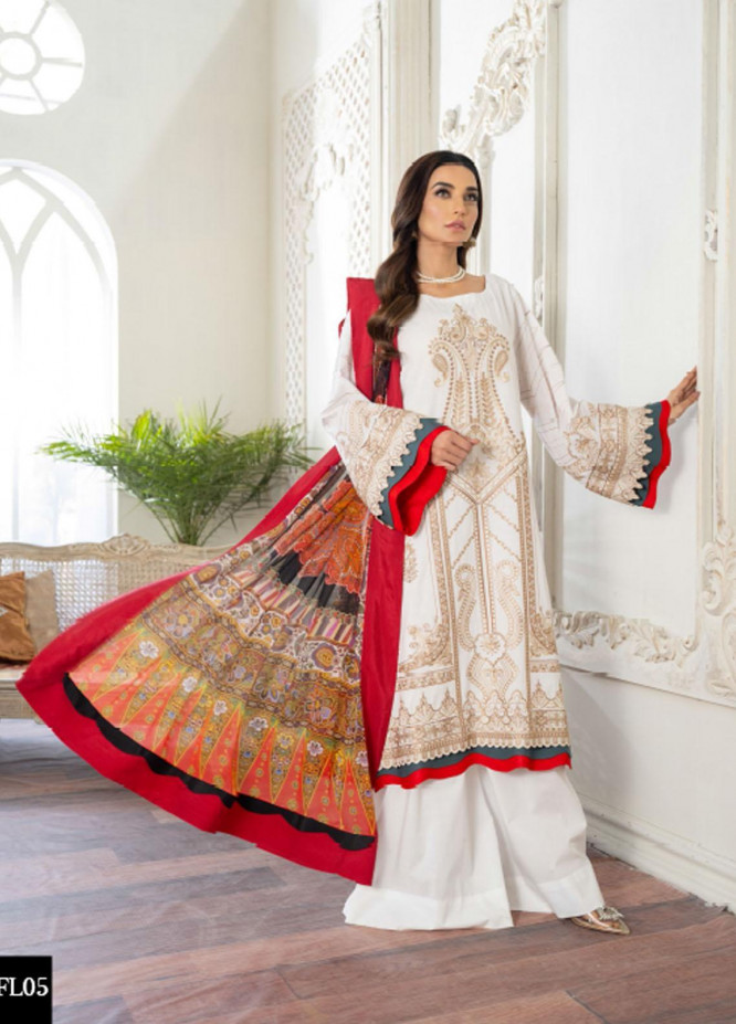 Freesia by Maryum N Maria Embroidered Lawn Suits Unstitched 3 Piece FMM21L 05 White Waely - Luxury Collection