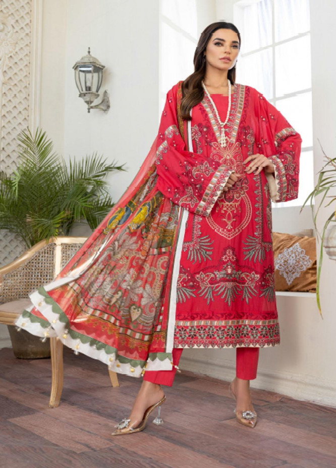Freesia by Maryum N Maria Embroidered Lawn Suits Unstitched 3 Piece FMM21L 07 Jiglit Kiyl - Luxury Collection