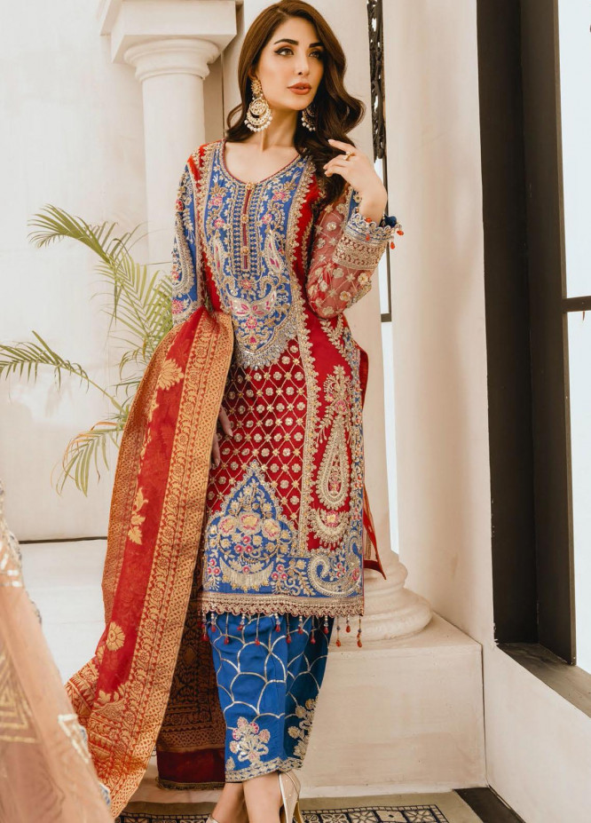 Freesia by Maryum N Maria Embroidered Net Unstitched 3 Piece Suit FMM20PC 05 Red Bluez - Premium Collection