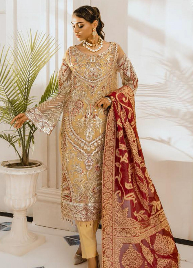 Freesia by Maryum N Maria Embroidered Net Unstitched 3 Piece Suit FMM20PC 09 Cris & Cross - Premium Collection