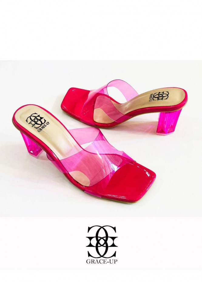 Grace Up Shoes Formal Style  Block Heels  838 PINK