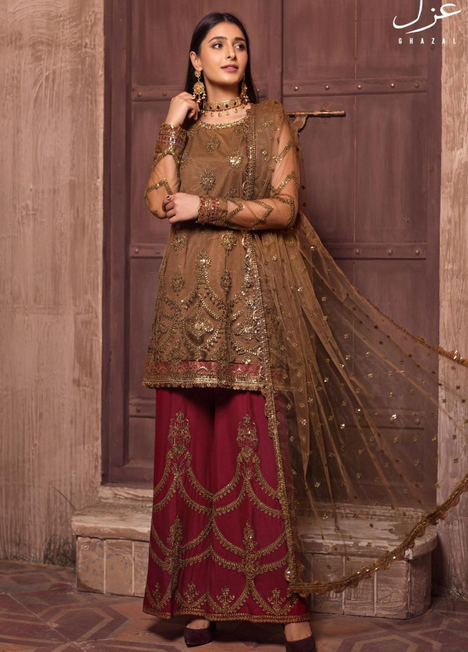 Ghazal By Zarif Embroidered Net Suits Unstitched 3 Piece ZF21G 03 Mahenoor - Festive Collection