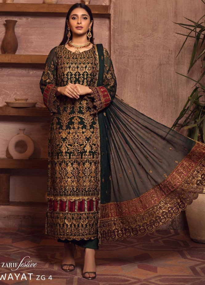 Ghazal By Zarif Embroidered Chiffon Suits Unstitched 3 Piece ZF21G 04 Riwayat - Festive Collection