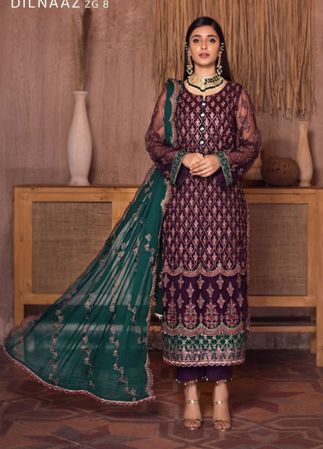 Ghazal By Zarif Embroidered Net Suits Unstitched 3 Piece ZF21G 08 Dilnaaz - Festive Collection
