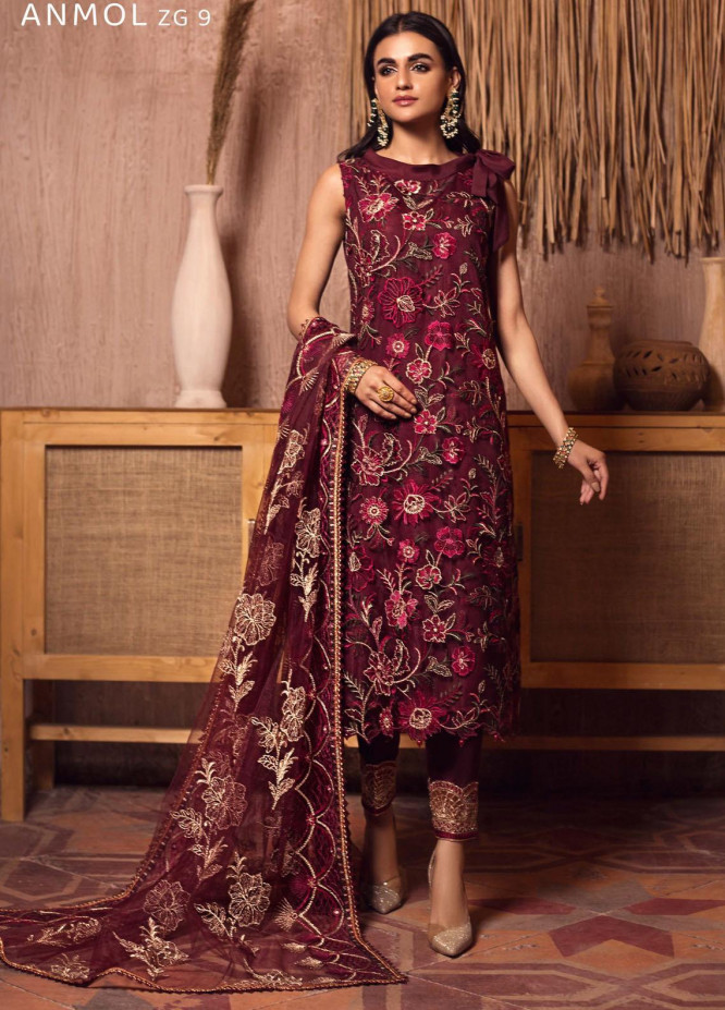 Ghazal By Zarif Embroidered Net Suits Unstitched 3 Piece ZF21G 09 Anmol - Festive Collection