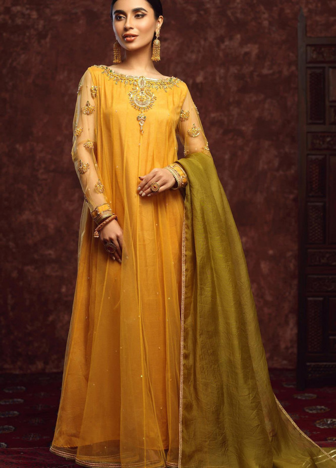 Zaaviay Embroidered Net Stitched 3 Piece Suit GEHNA - 004 CHANBALI