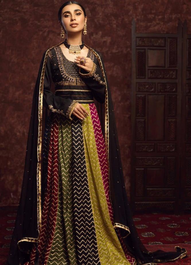 Zaaviay Embroidered Raw Silk Stitched 3 Piece Suit GEHNA - 013 NAURATTAN