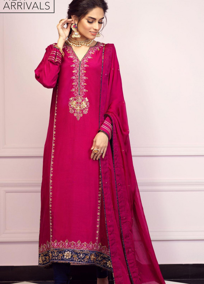 Zaaviay Embroidered Raw Silk Stitched 3 Piece Suit GEHNA2-003 KAVISH