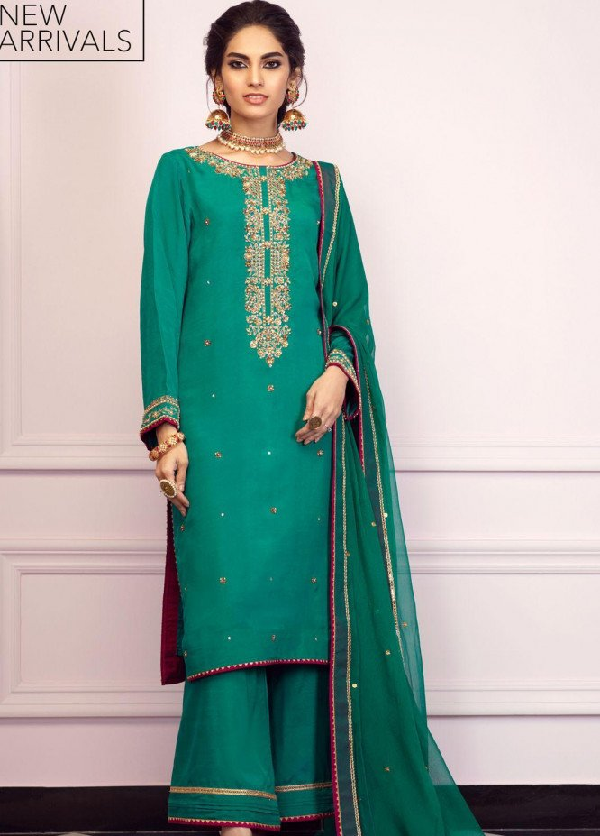 Zaaviay Embroidered Raw Silk Stitched 3 Piece Suit GEHNA2-007 PANNA
