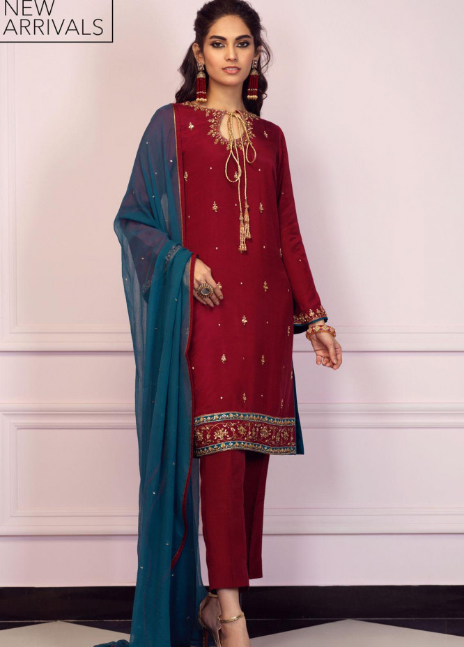 Zaaviay Embroidered Raw Silk Stitched 3 Piece Suit GEHNA2-010 ZEVAR