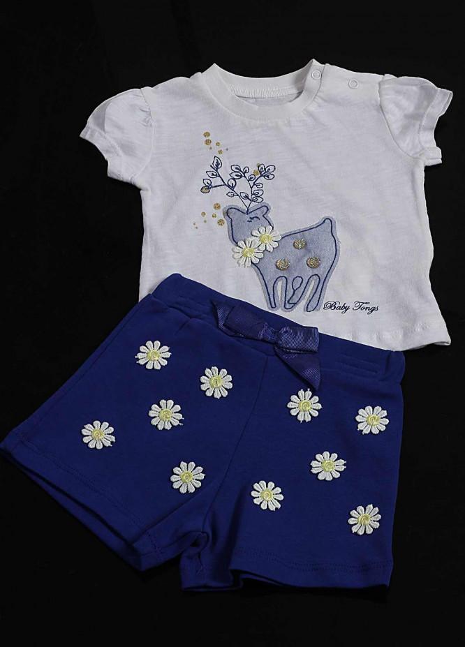 Sanaulla Exclusive Range Cotton Fancy Girls Suit -  2235 Blue
