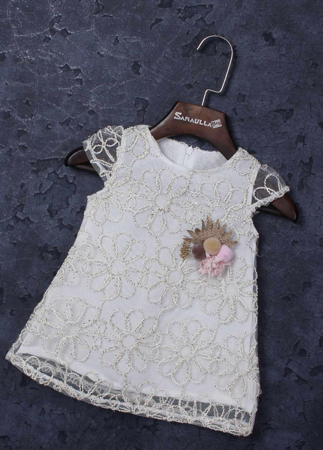 Sanaulla Exclusive Range Mix Cotton Fancy Girls Frocks -   229200 White