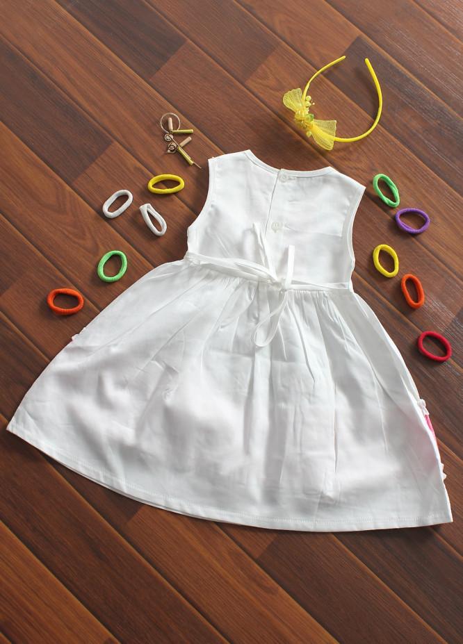 Sanaulla Exclusive Range Cotton Fancy Frocks for Girls -  482 White