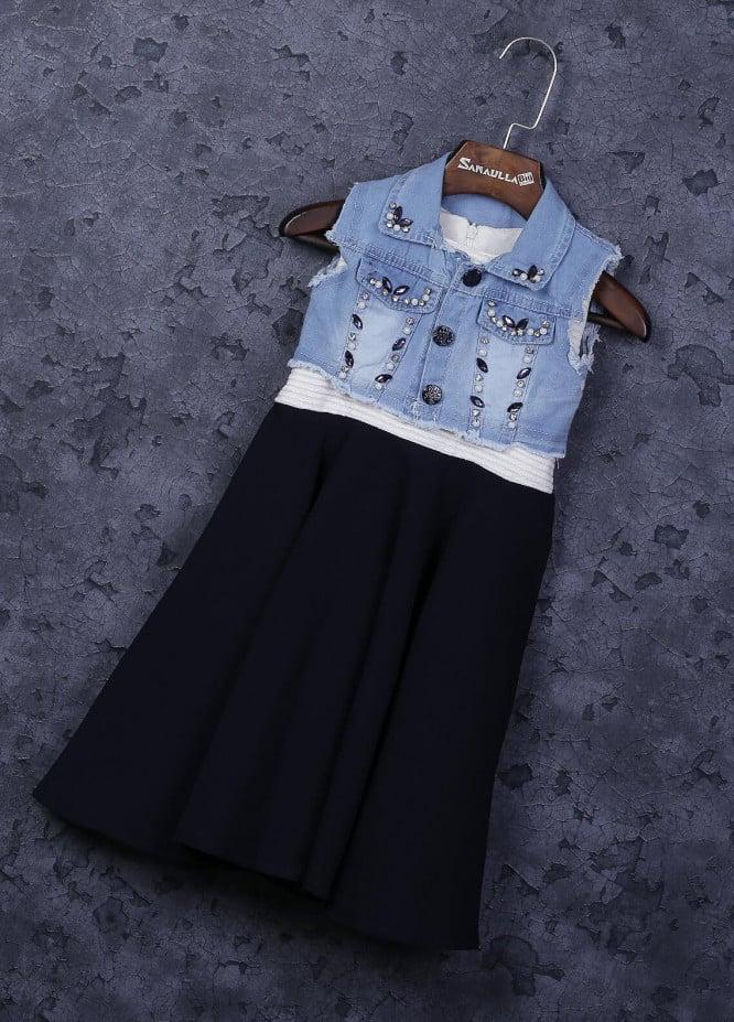 Sanaulla Exclusive Range Mix Cotton Fancy Frocks for Girls -  5053 Blue