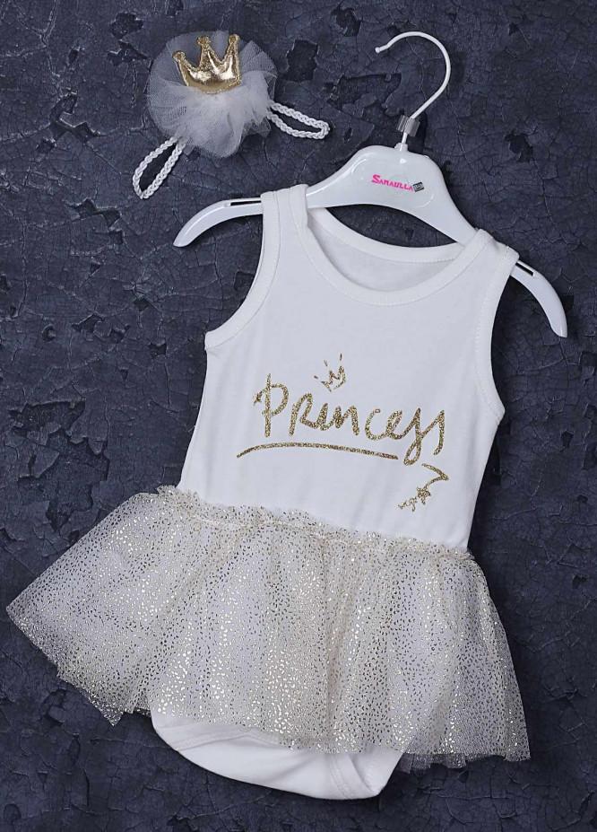 Sanaulla Exclusive Range Cotton Fancy Girls Frocks -  5424 White