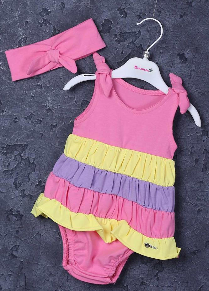 Sanaulla Exclusive Range Cotton Fancy Frocks for Girls -  5435 Pink