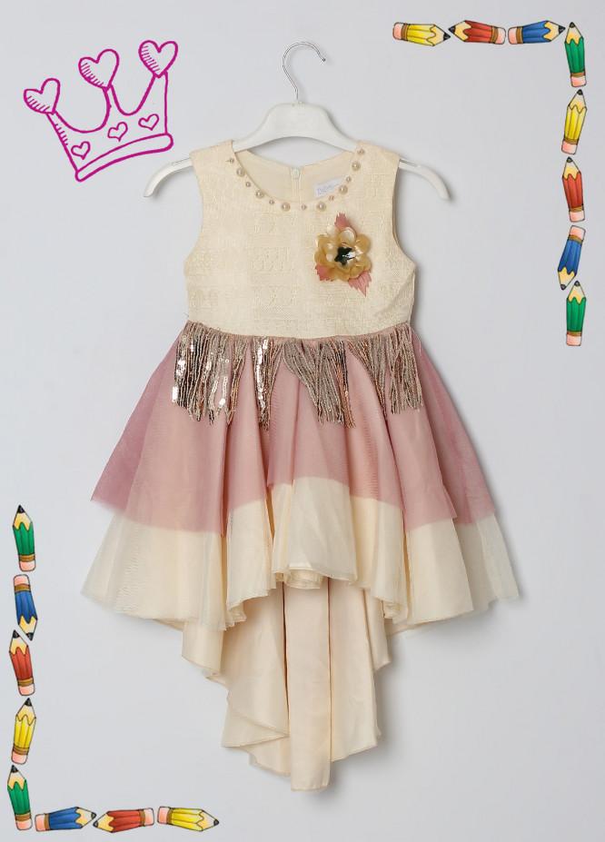 Sanaulla Exclusive Range Cotton Net Fancy Girls Frocks -  5531 Fawn
