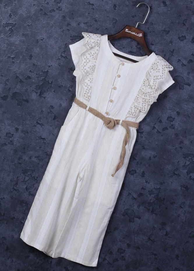 Sanaulla Exclusive Range Mix Cotton Fancy Frocks for Girls -  6026 White