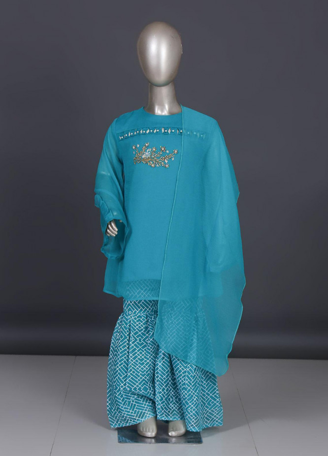 Sanaulla Exclusive Range Chiffon Embroidered 3 Piece Suit for Girls -  CGN-1925 Aqua Green