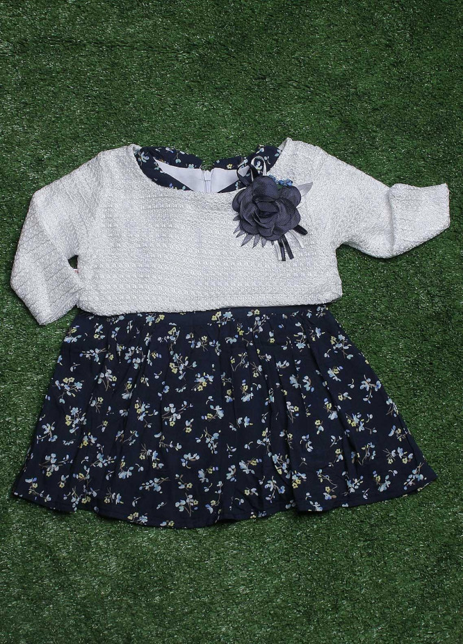 Sanaulla Exclusive Range Cotton Fancy Frocks for Girls -  050K0277 Blue