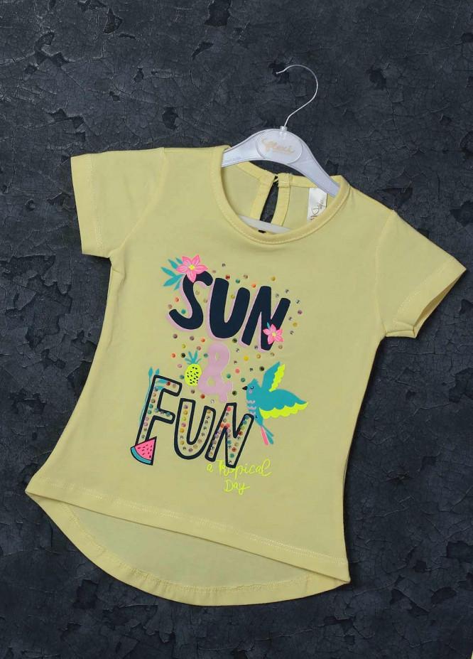 Sanaulla Exclusive Range Mix Cotton Printed T-Shirts for Girls -  95712 Yellow