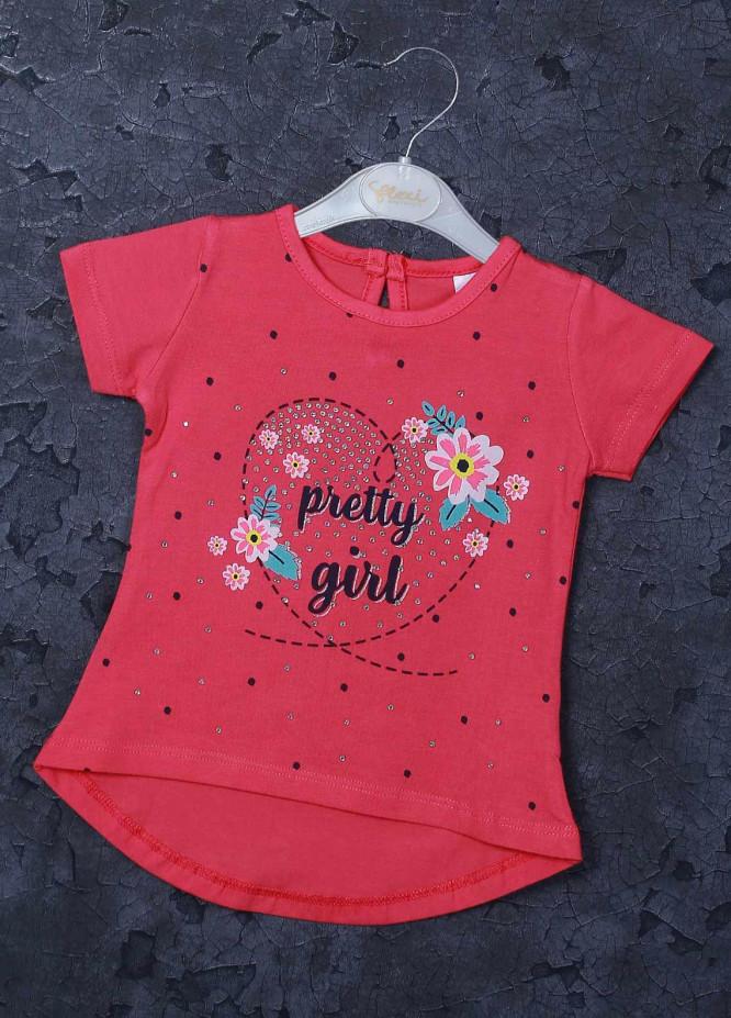 Sanaulla Exclusive Range Mix Cotton Printed T-Shirts for Girls -  95715 Pink