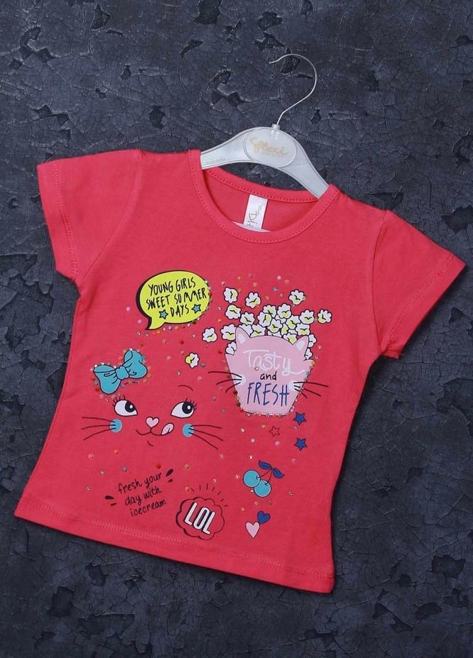 Sanaulla Exclusive Range Mix Cotton Printed Girls T-Shirts -  95726 Dark Pink