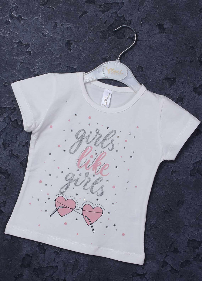 Sanaulla Exclusive Range Mix Cotton Printed T-Shirts for Girls -  95731 White