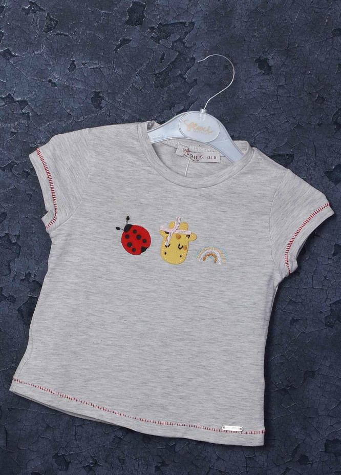 Sanaulla Exclusive Range Mix Cotton Printed Girls T-Shirts -  97126 Grey