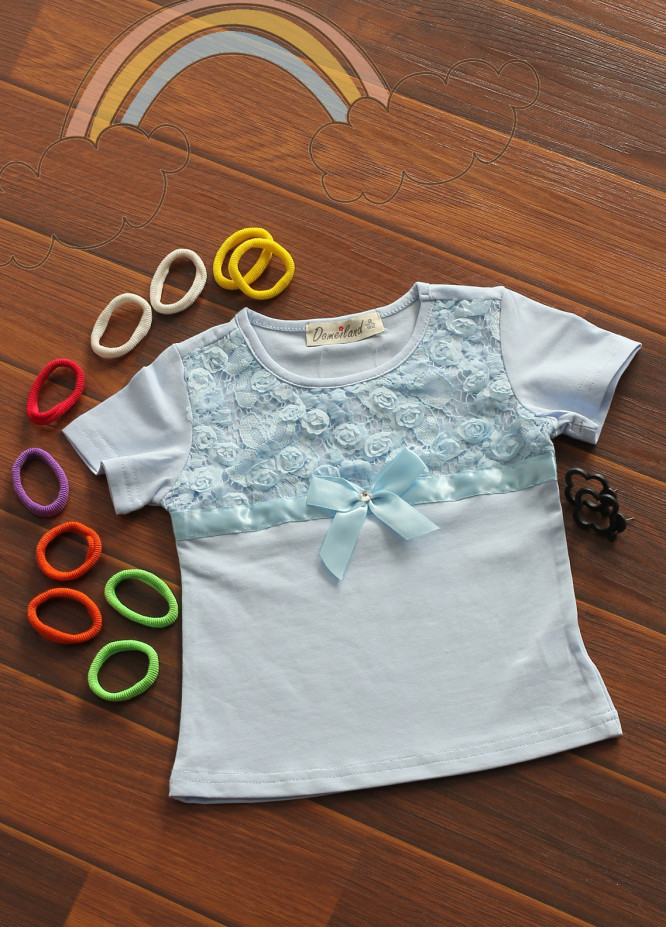 Sanaulla Exclusive Range Cotton Fancy Tees for Girls -  801799 Sky Blue
