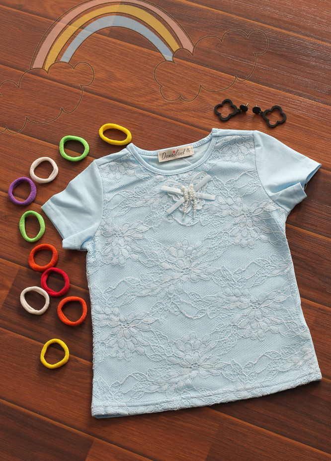 Sanaulla Exclusive Range Cotton Fancy Tees for Girls -  802580 Sky Blue