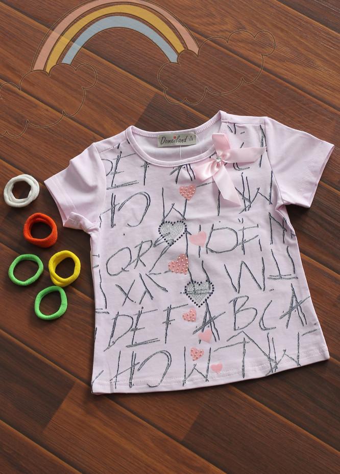Sanaulla Exclusive Range Cotton Fancy Tees for Girls -  802766 Light Pink