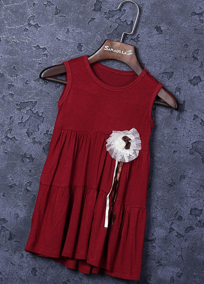 Sanaulla Exclusive Range Cotton Fancy Frocks for Girls -  22707-2 Maroon