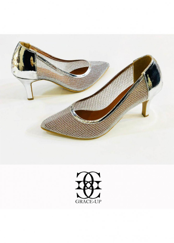 Grace Up Shoes Formal Style  Heel  0477 SILVER