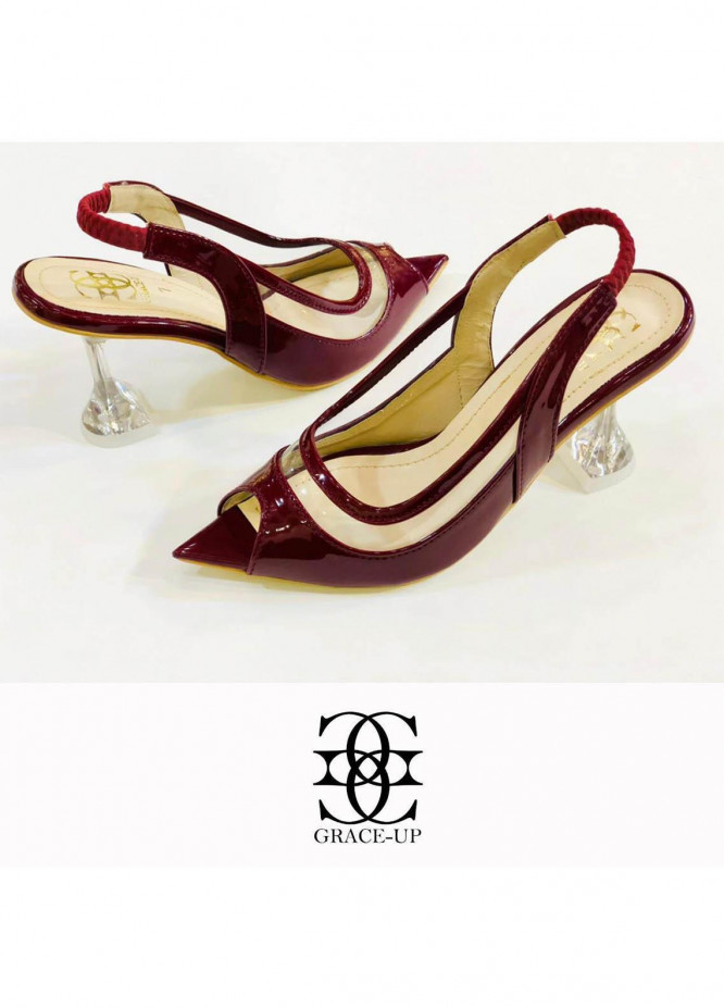 Grace Up Shoes Formal Style  Wedge Pencil Heel  0478 MAROON