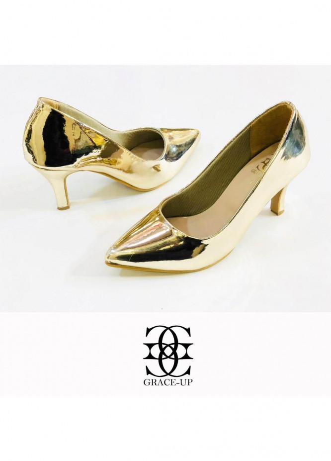 Grace Up Shoes Formal Style  Heel  0479 GOLDEN