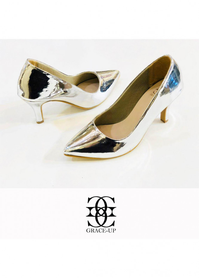 Grace Up Shoes Formal Style  Heel  0479 SILVER