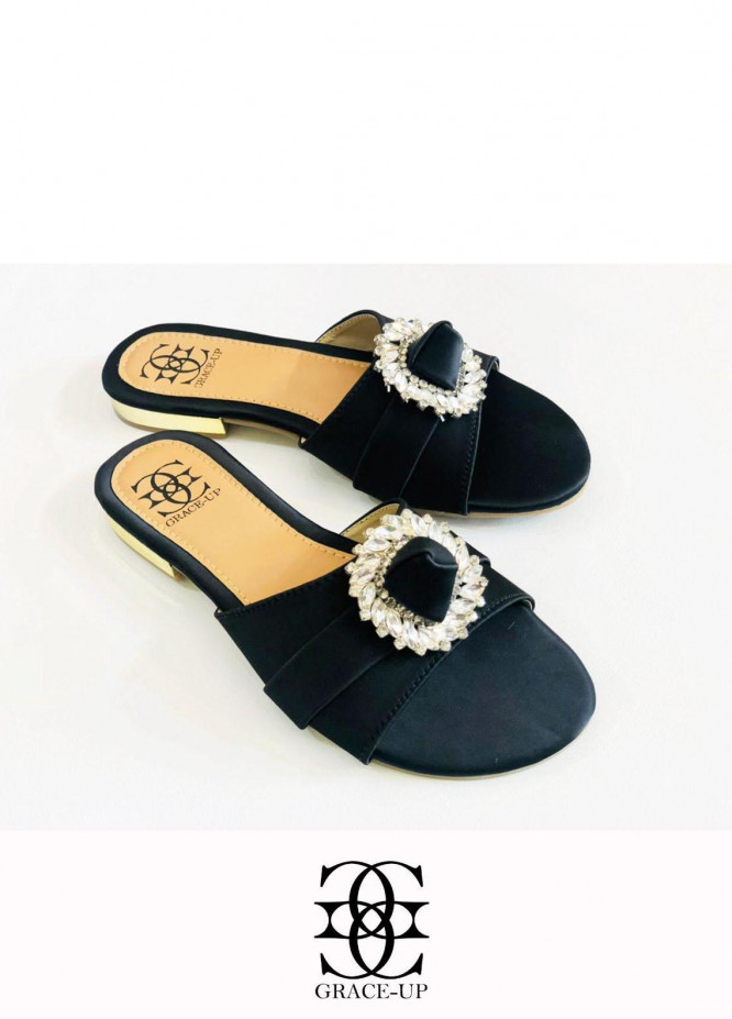 Grace Up Shoes Casual Style  Flats  O634 BLACK