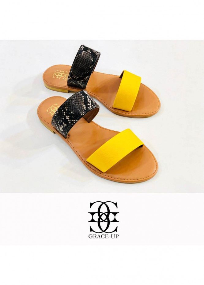 Grace Up Shoes Casual Style  Flat  0617 YELLOW