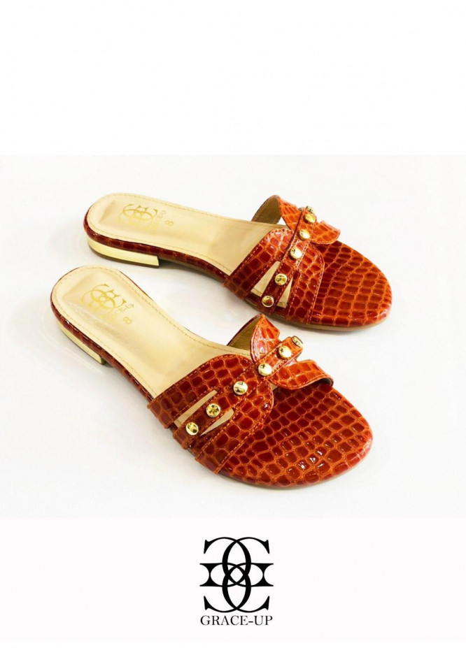 Grace Up Shoes Casual Style  Flats  612 BROWN