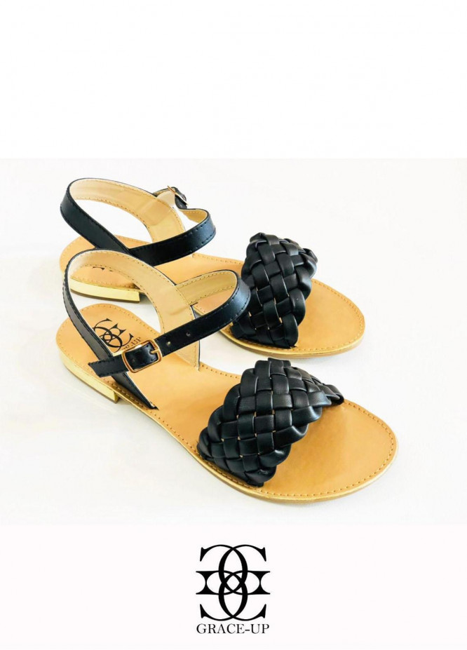 Grace Up Shoes Casual Style  Flats  631 BLACK