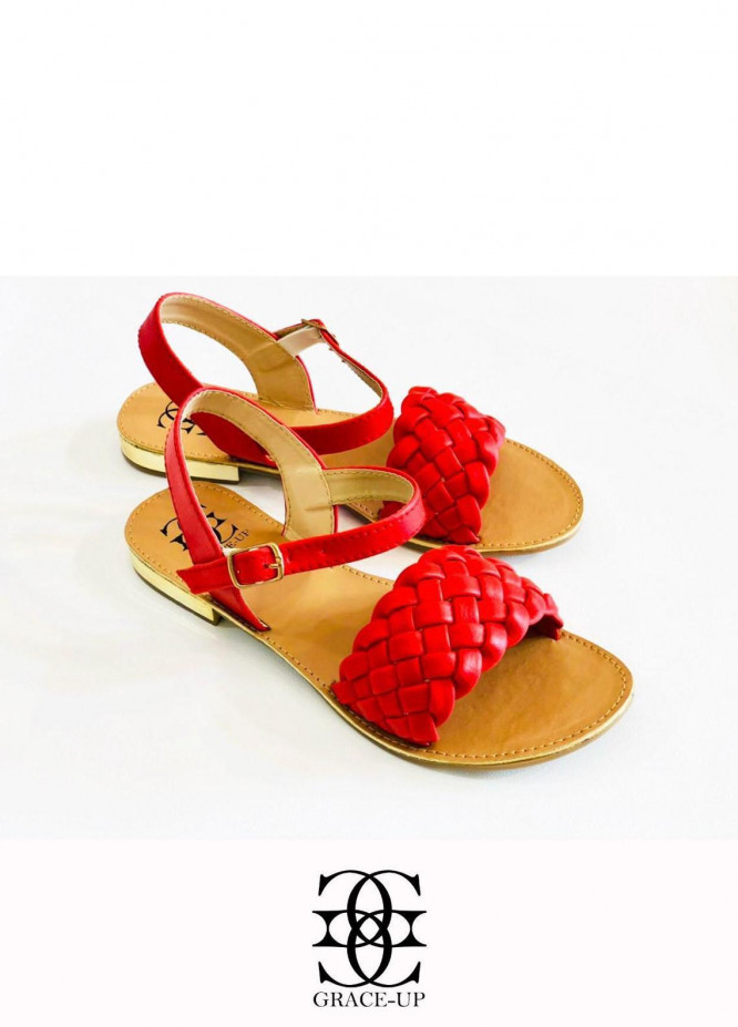 Grace Up Shoes Casual Style  Flats  631 RED