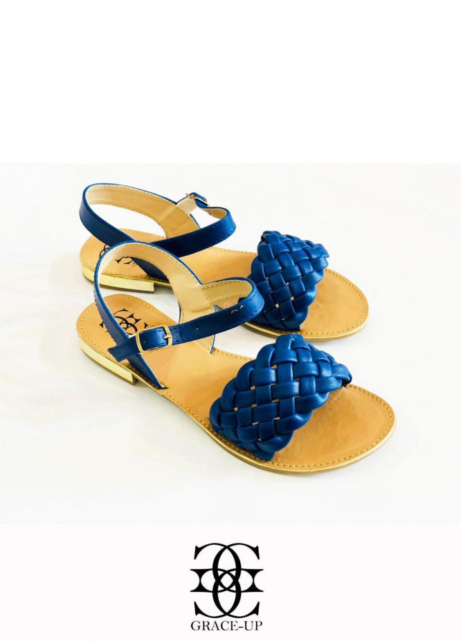 Grace Up Shoes Casual Style  Flats  631 BLUE