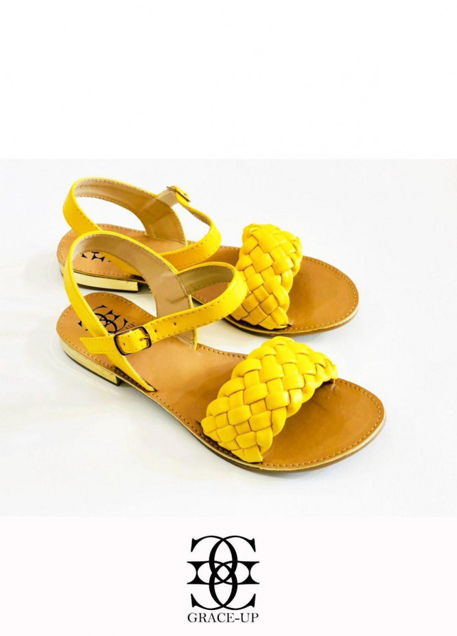 Grace Up Shoes Casual Style  Flats  631 YELLOW
