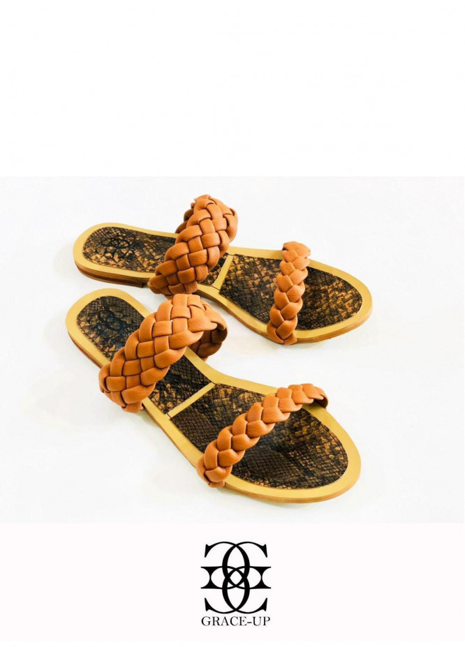 Grace Up Shoes Casual Style  Flats  632 BROWN