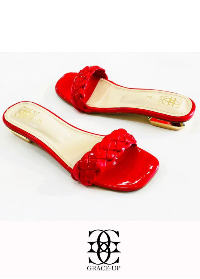 Grace Up Shoes Casual Style  Flat  624 RED