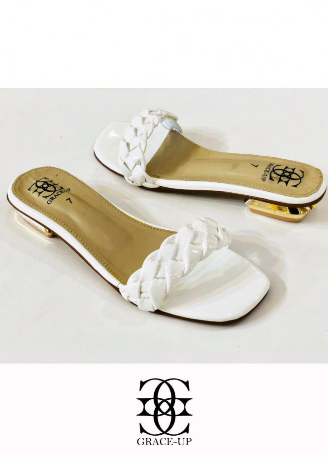 Grace Up Shoes Casual Style  Flat  624 WHITE